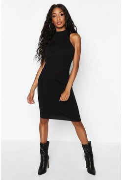 Womens Black Premium Rib Knit Midi Bandage Bodycon
