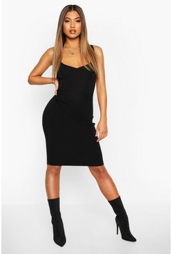 Womens Black Premium Rib Knit Bandage Midi Dress
