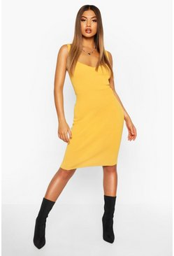 Mustard Premium Rib Knit Bandage Midi Dress