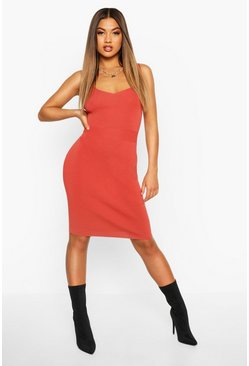Rust Premium Rib Knit Bandage Midi Dress