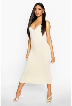 Womens Champagne Premium Rib Knit Bandage Midi Dress