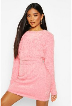Womens Pink Fluffy Knit Skirt Set