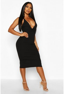Black Premium Plunge Rib Knit Bandage Dress