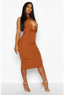 Womens Toffee Premium Plunge Rib Knit Bandage Dress