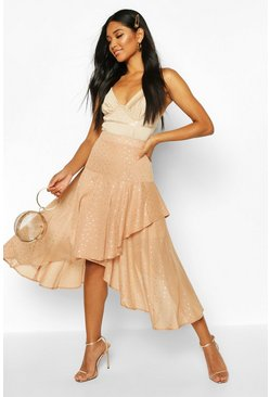 Womens Nude Layered Metallic Polka Dot Midi Skirt