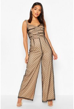 Womens Black Polka Dot Flocked Sweetheart Neck Jumpsuit