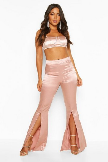 Womens Nude Split Front Satin Flared Trousers
