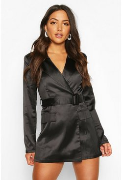 Womens Black Satin Tailored Wrap Front Blazer Playsuit