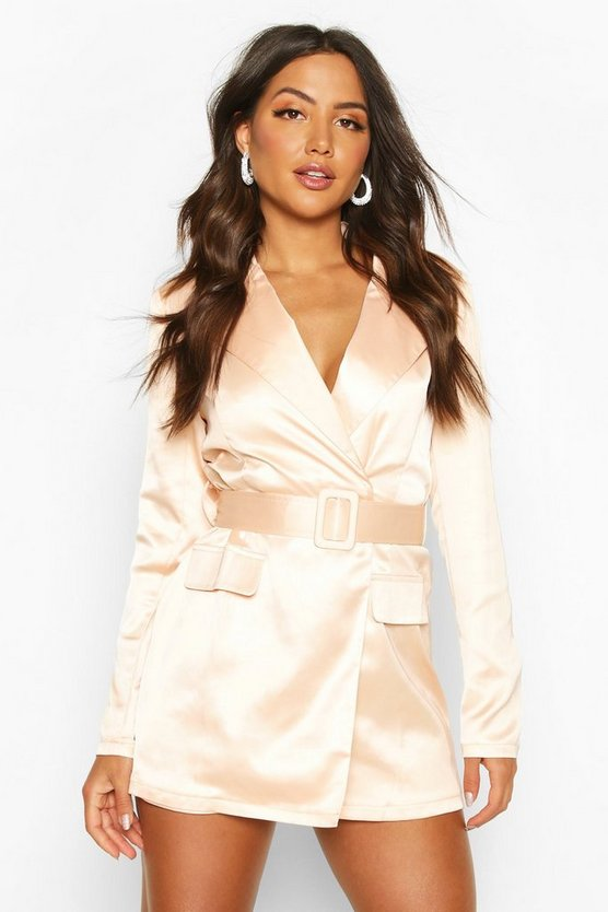 Nude Satin Tailored Wrap Front Blazer Playsuit