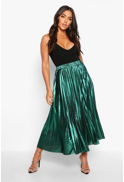 Womens Emerald Pleated Metallic Midi Skirt