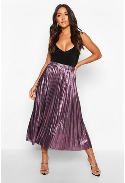 Womens Pink Pleated Metallic Midi Skirt