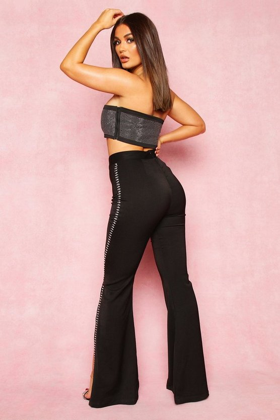 Diamante Split Side Wide Leg Trouser