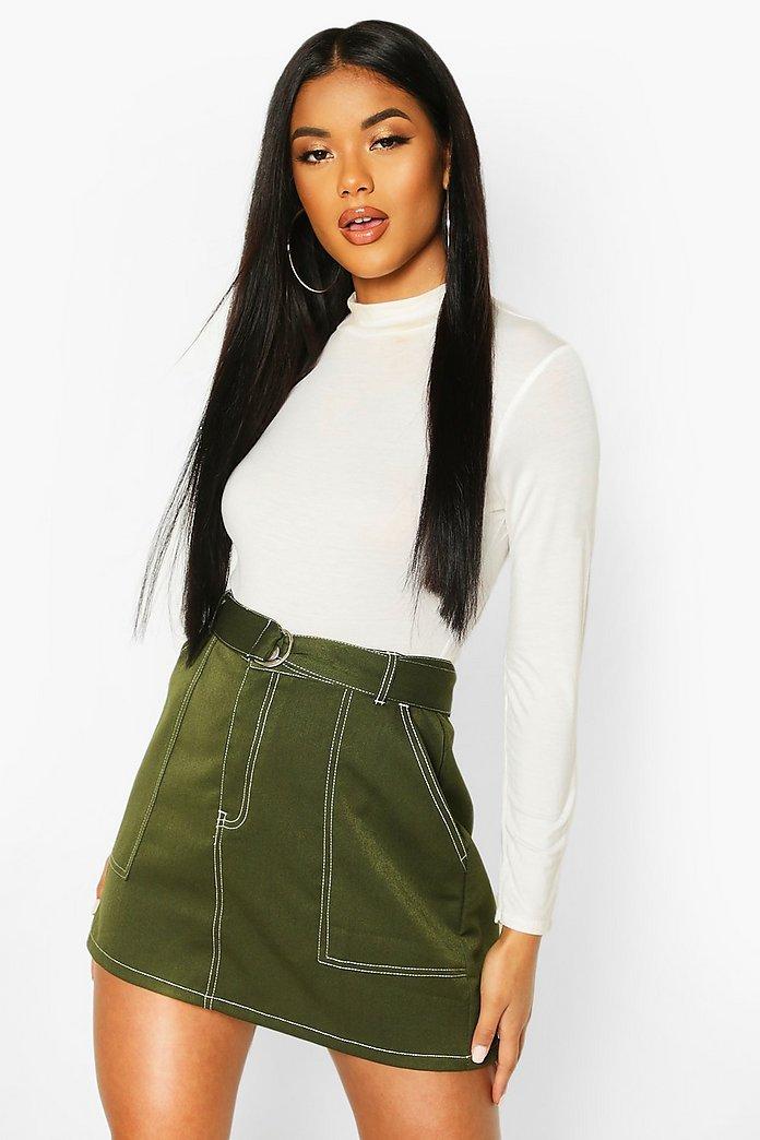Contrast Stitch Belted Mini Skirt | boohoo