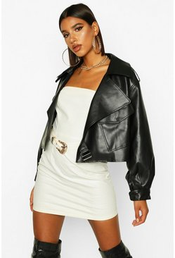Womens Black Oversized Crop Biker Faux Leather Jacket