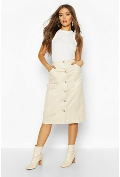 Womens Ecru Button Down Cord Midi Skirt