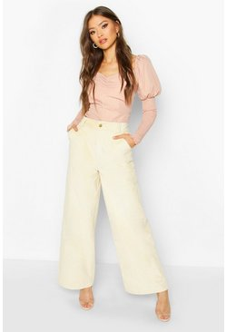 Ecru Wide Leg Cord Pants