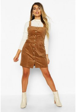 Womens Tan Button Front Cord Dress