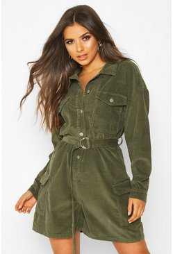 Womens Khaki Long Sleeve Belted Cord Short Boilersuit