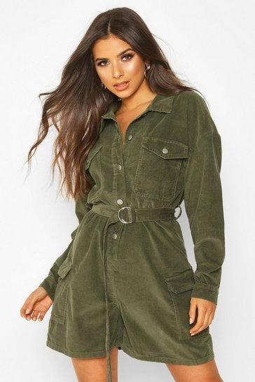 Khaki Long Sleeve Belted Cord Short Boilersuit