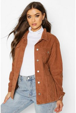 Womens Tan Cord Oversized Trucker Jacket