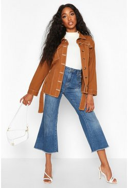Camel Belted Contrast Stitch Denim Jacket