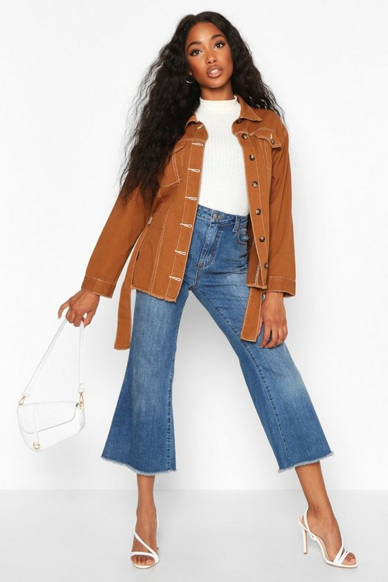 Belted Contrast Stitch Denim Jacket