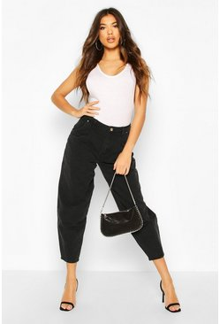 Womens Black Oversized Mom Jean