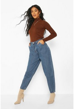 Womens Mid blue Oversized Mom Jean