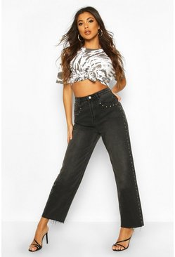 Womens Black Stud High Rise Straight Leg Jean