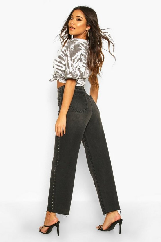 Stud High Rise Straight Leg Jean
