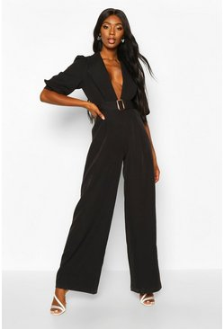 Womens Black Belted Puff Sleeve Jumpsuit