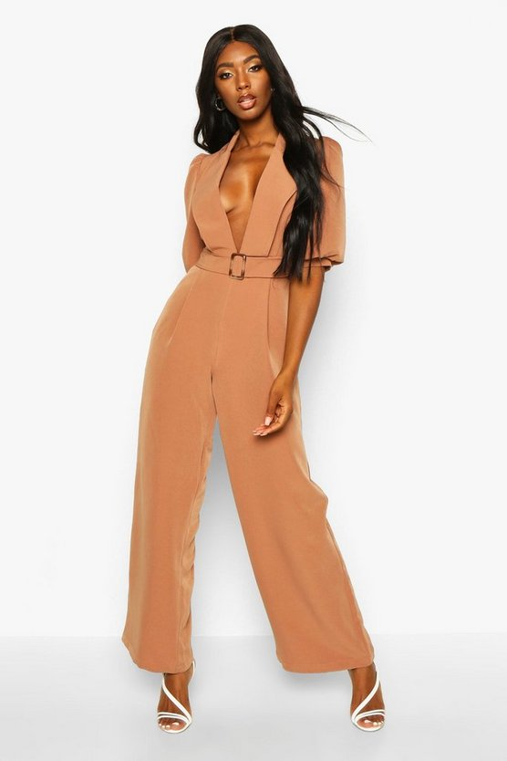Camel Belted Puff Sleeve Jumpsuit
