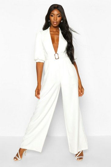 Womens White Belted Puff Sleeve Jumpsuit