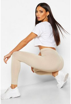 Basic high-waist Leggings, Steingrau