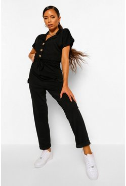 Black Utility Pocket Button Front Jumpsuit