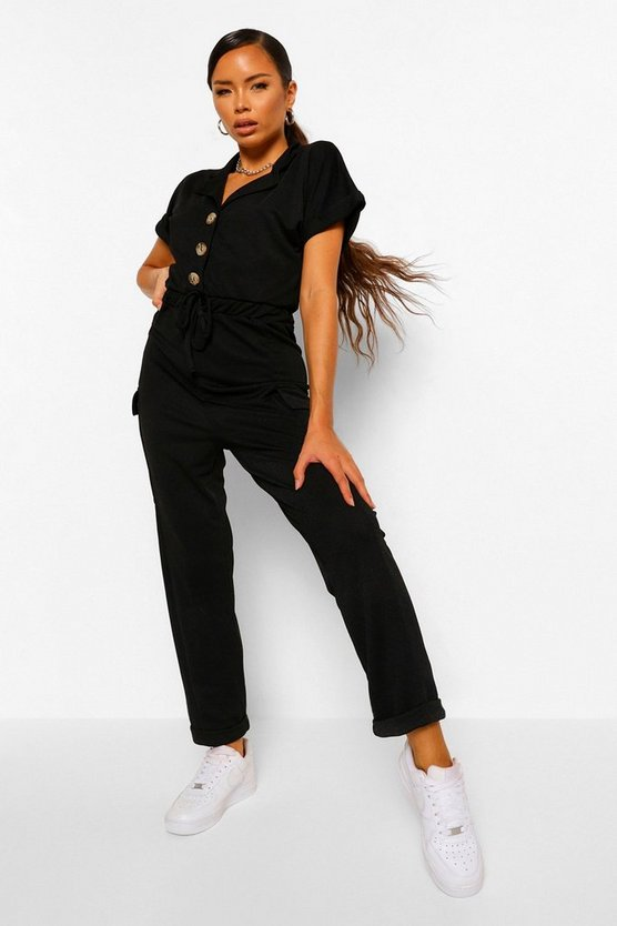 Womens Black Utility Pocket Button Front Jumpsuit