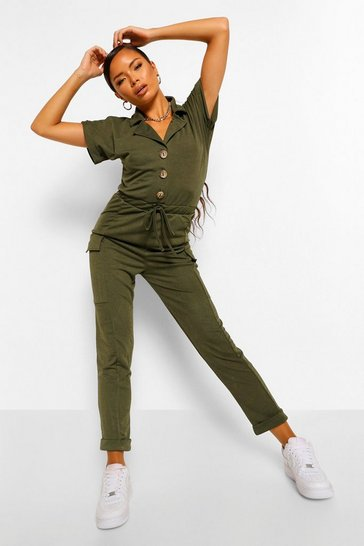 Womens Khaki Utility Pocket Button Front Jumpsuit