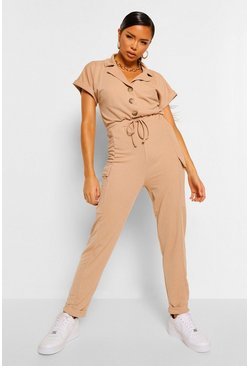 Sand Utility Pocket Button Front Jumpsuit