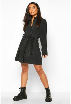 Womens Black Jumbo Cord Tie Belt Shirt Dress