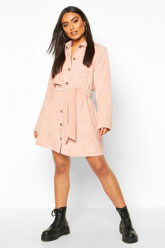 Rose Jumbo Cord Tie Belt Shirt Dress