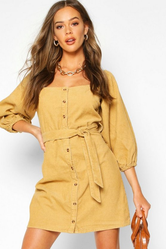 Womens Tan Balloon Sleeve Square Neck Cord Dress