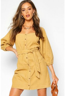 Tan Balloon Sleeve Square Neck Cord Dress