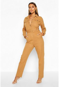 Womens Camel Long Sleeve Belted Boilersuit