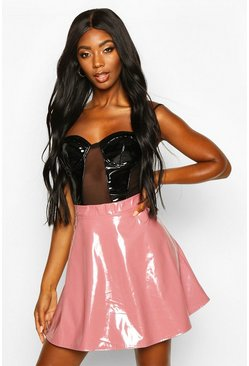 Womens Rose Vinyl Full Skater Skirt