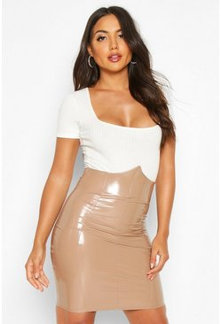Womens Camel Deep Waistband Vinyl Mini Skirt