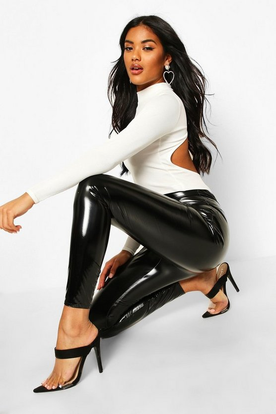 Black Extra Deep Waistband Vinyl Leggings