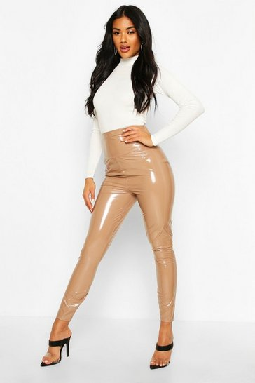 Womens Camel Extra Deep Waistband Vinyl Leggings