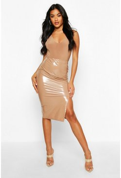 Womens Camel Thigh Split Vinyl Midi Skirt
