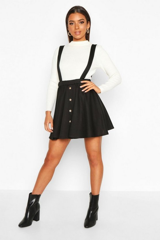 Womens Black Button Front Pinafore Skirt