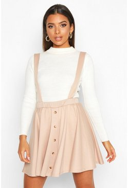 Womens Sand Button Front Pinafore Skirt